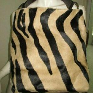 Maurizio Taiuti Italy Calf Hair Zebra Tote Bag